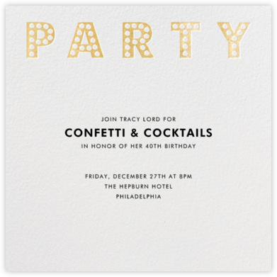 Marquee Lights - White - Paperless Post - Milestone Birthday Invitations