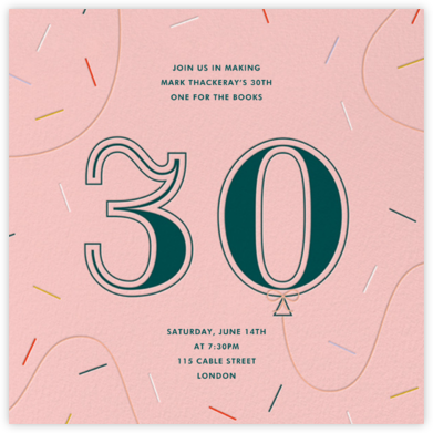 Balloon Drop - Thirty - Paperless Post - Milestone birthday invitations