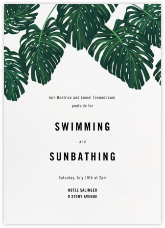 Monstera (Invitation) - Paperless Post - Summer entertaining invitations