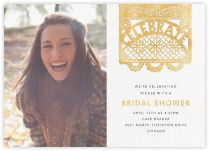 Papel Picado (Photo) - Gold - Paperless Post - Bridal shower invitations