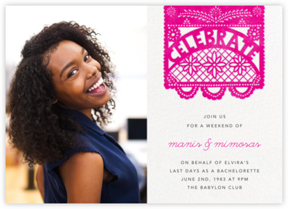Papel Picado (Photo) - Bright Pink - Paperless Post - Bachelorette Party Invitations