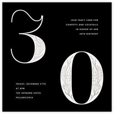 Nouveau Numerals - Thirty - Paperless Post - Adult birthday invitations