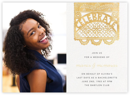 Papel Picado (Photo) - Gold - Paperless Post - Bachelorette Party Invitations