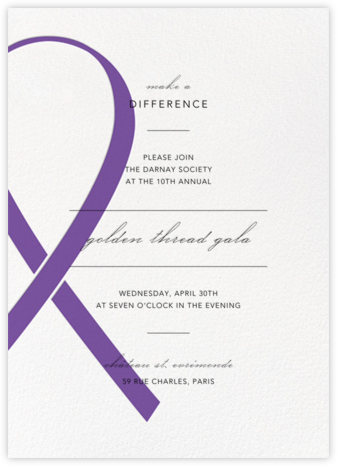 Charity Ribbon - Purple - Paperless Post - Business event invitations