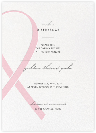 Charity Ribbon - Pink  - Paperless Post - Fundraiser Invitations