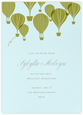 Hot Air Balloon Cluster - Snowdrift/Green Gold - Paperless Post - Farewell party invitations