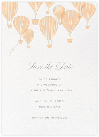 Hot Air Balloon Cluster - White/Bellini - Paperless Post - Save the dates
