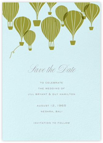 Hot Air Balloon Cluster - Snowdrift/Green Gold - Paperless Post - Save the dates