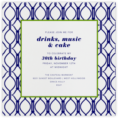 Cadogan Blue Square - Paperless Post - Adult Birthday Invitations