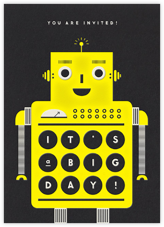 Robot - Yellow - The Indigo Bunting - Online Kids' Birthday Invitations
