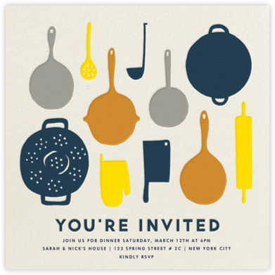 Pantry - Navy - The Indigo Bunting - Dinner Party Invitations