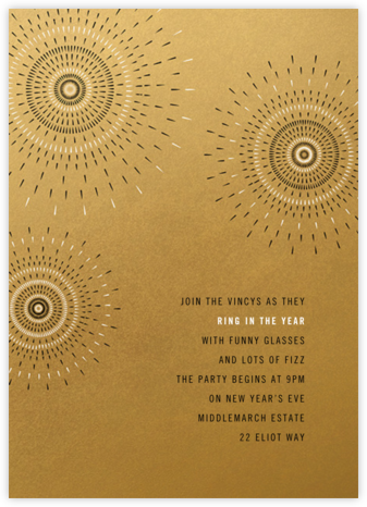 Firework - Satin Gold - Paperless Post - New Year's Eve Invitations