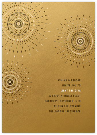 Firework - Satin Gold - Paperless Post - Diwali invitations