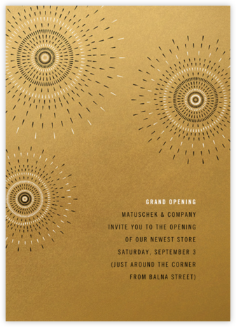 Firework - Satin Gold - Paperless Post - Launch Party Invitations