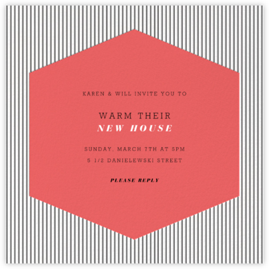 Plaza Square - Coral - Paperless Post - Housewarming party invitations