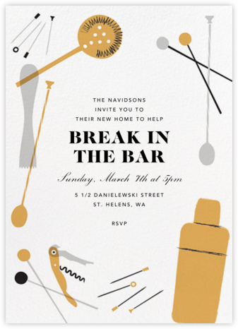Home Is Where the Bar Is - Crate & Barrel - Housewarming party invitations