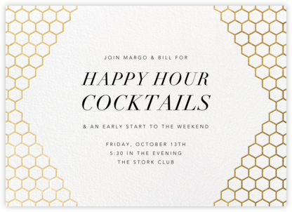 Honeycomb Party - Gold - Paperless Post - Happy Hour Invitations