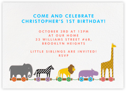 Animal Train - Paperless Post - Invitations