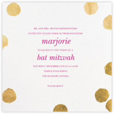 Reese - Gold/Bright Pink - Sugar Paper - Bat and Bar Mitzvah Invitations