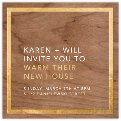 Wood Grain Light - Square (Foil) - Paperless Post - Housewarming party invitations