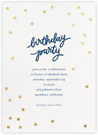 Birthday Stars - Dark Blue/Gold - Sugar Paper - Adult Birthday Invitations