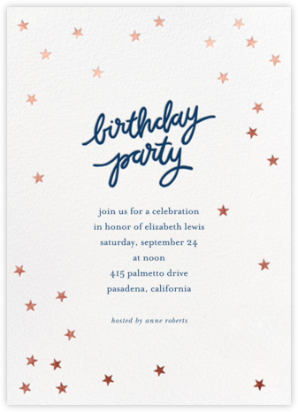 Birthday Stars - Dark Blue/Rose Gold - Sugar Paper - Adult Birthday Invitations