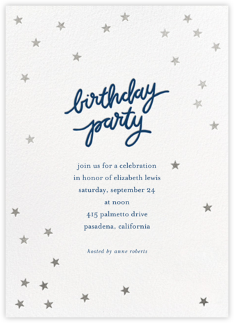 Birthday Stars - Dark Blue/Silver - Sugar Paper - Adult Birthday Invitations