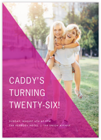 Split Triangle - Magenta - Paperless Post - Adult Birthday Invitations
