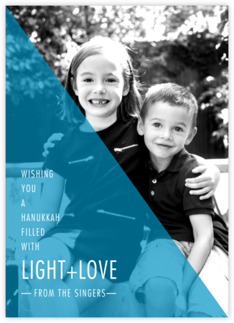 Split Triangle - Cyan - Paperless Post - Hanukkah photo cards