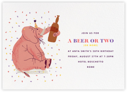 Pink Elephant Walk - Paperless Post - Adult Birthday Invitations
