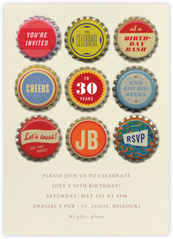 Tops Popped - Cheree Berry - Adult birthday invitations