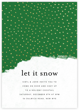 Confetti Snowfall - Green - Ashley G - Invitations for Parties and Entertaining