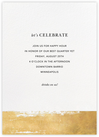 Simple Brushstroke - Sugar Paper - Happy hour invitations