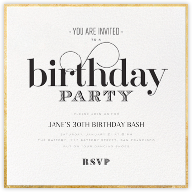 Birthday Swash - bluepoolroad - Milestone birthday invitations
