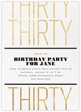 Birthday Tile - Thirty - bluepoolroad - Adult birthday invitations