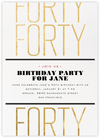 Birthday Tile - Forty - bluepoolroad - Milestone birthday invitations