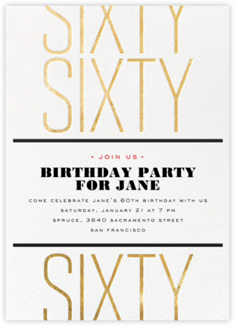 Birthday Tile - Sixty - bluepoolroad - Adult birthday invitations