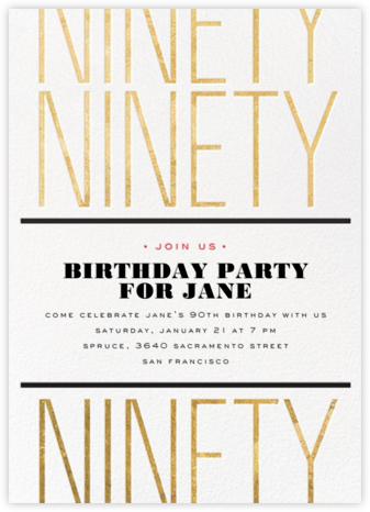 Birthday Tile - Ninety - bluepoolroad - Adult birthday invitations
