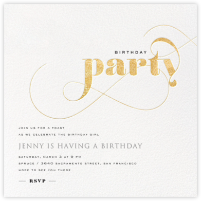 Birthday Whirl - Gold - bluepoolroad - Adult birthday invitations