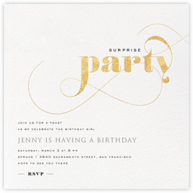 Surprise Whirl - Gold - bluepoolroad - Adult birthday invitations