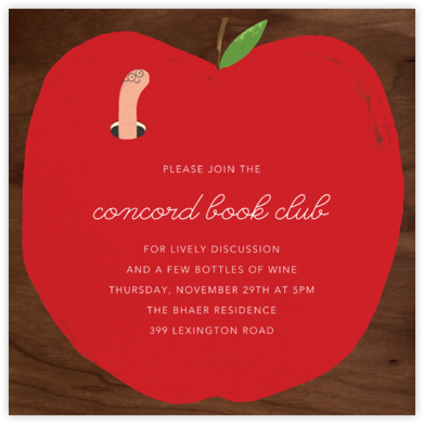 Bookworm Nook - Paperless Post - Book club invitations