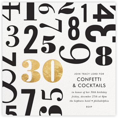 Lucky Number - Thirty - kate spade new york - Adult Birthday Invitations