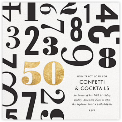 Lucky Number - Fifty - kate spade new york - Adult birthday invitations