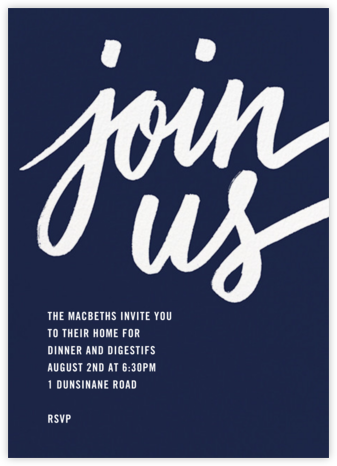 Rosina - Navy - Paperless Post - Dinner Party Invitations