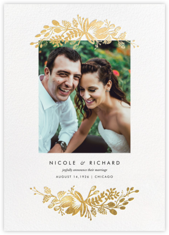 Floral Silhouette (Portrait Photo) - White/Gold - Rifle Paper Co. - Wedding Announcements
