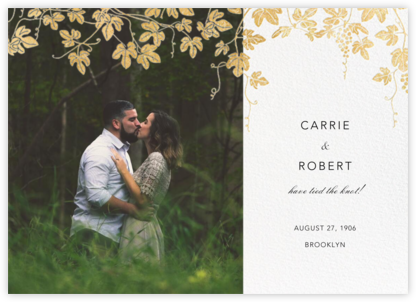 Vineyard II (Photo Announcement) - Gold - Paperless Post - Wedding Announcements