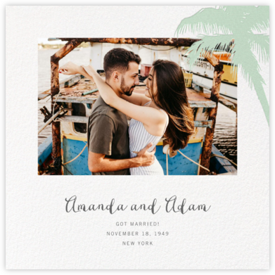 Tropical Palm (Photo Announcement) - Mint - Paperless Post - Wedding Announcements