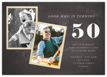 Blackboard Birthday Photo - Fifty - Paper + Cup - Adult birthday invitations