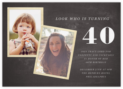 Blackboard Birthday Photo - Forty - Paper + Cup - Adult birthday invitations