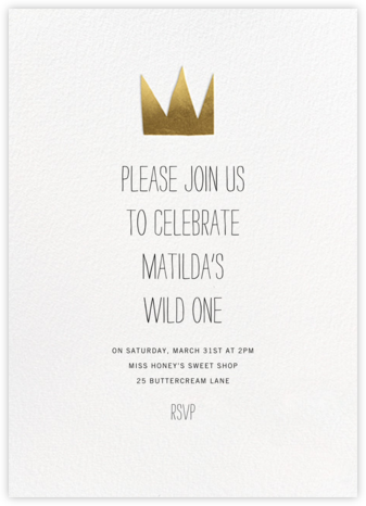 Gold Crown - Paperless Post - Online Kids' Birthday Invitations